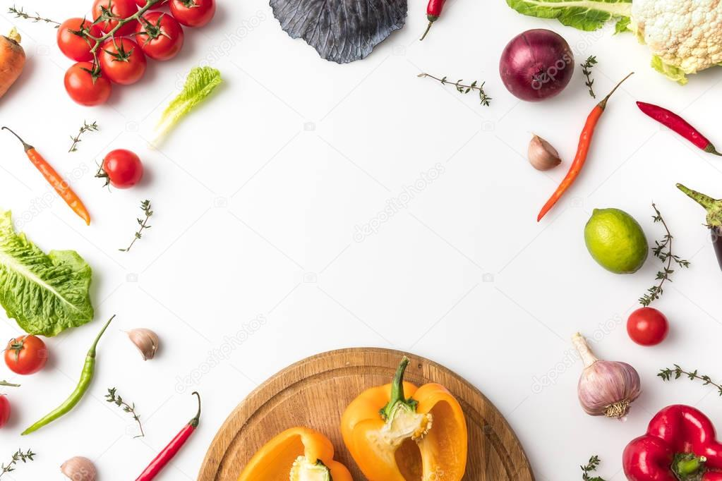 bell peppers on wooden board