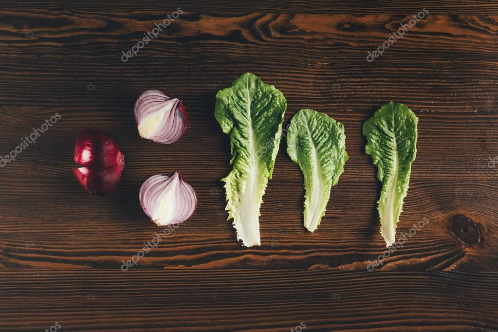 onion and peking cabbage leaves