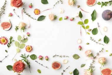 floral concept with flowers and figs