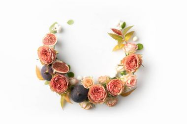 pink flower wreath with figs