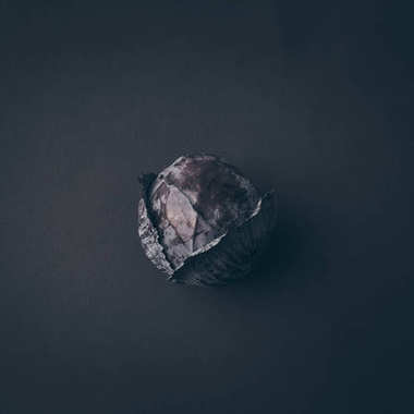 top view of red cabbage on gray table