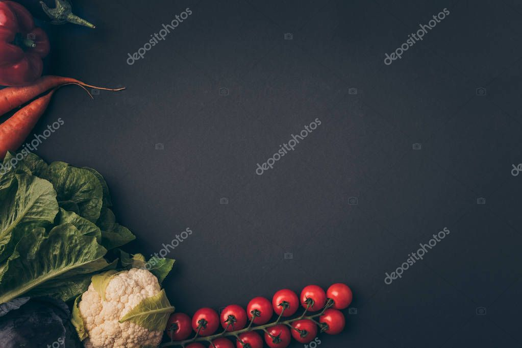 top view of organic vegetables on gray table