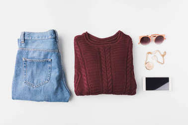 trendy clothes, accessories and smartphone
