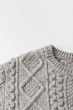 grey sweater with pattern