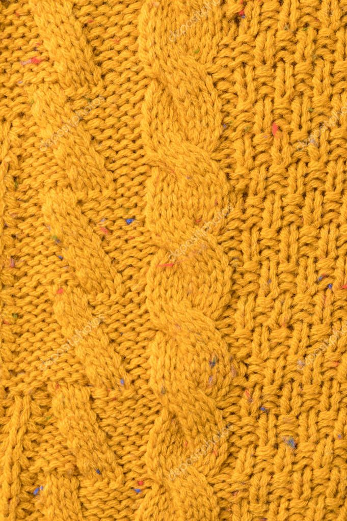 texture of yellow sweater with pattern