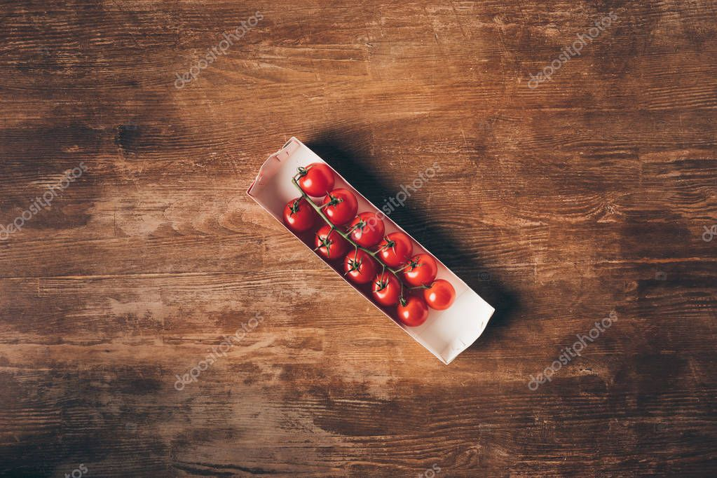 top view of Cherry tomatoes on wooden table