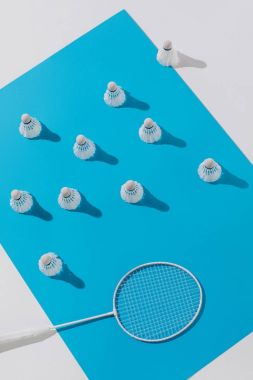 top view of badminton racket and shuttlecocks on blue paper