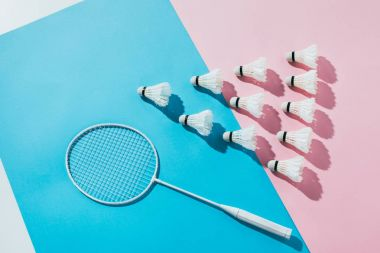 top view of composition with badminton racket and shuttlecocks on blue and pink papers