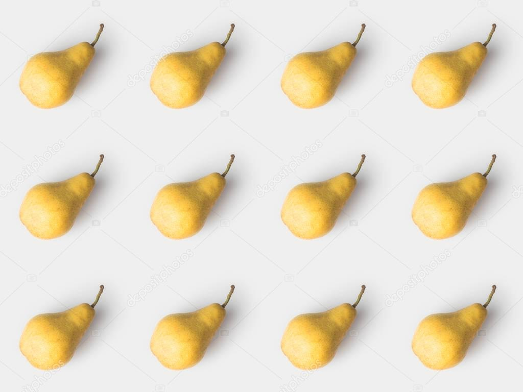 pattern of delicious pears isolated on white