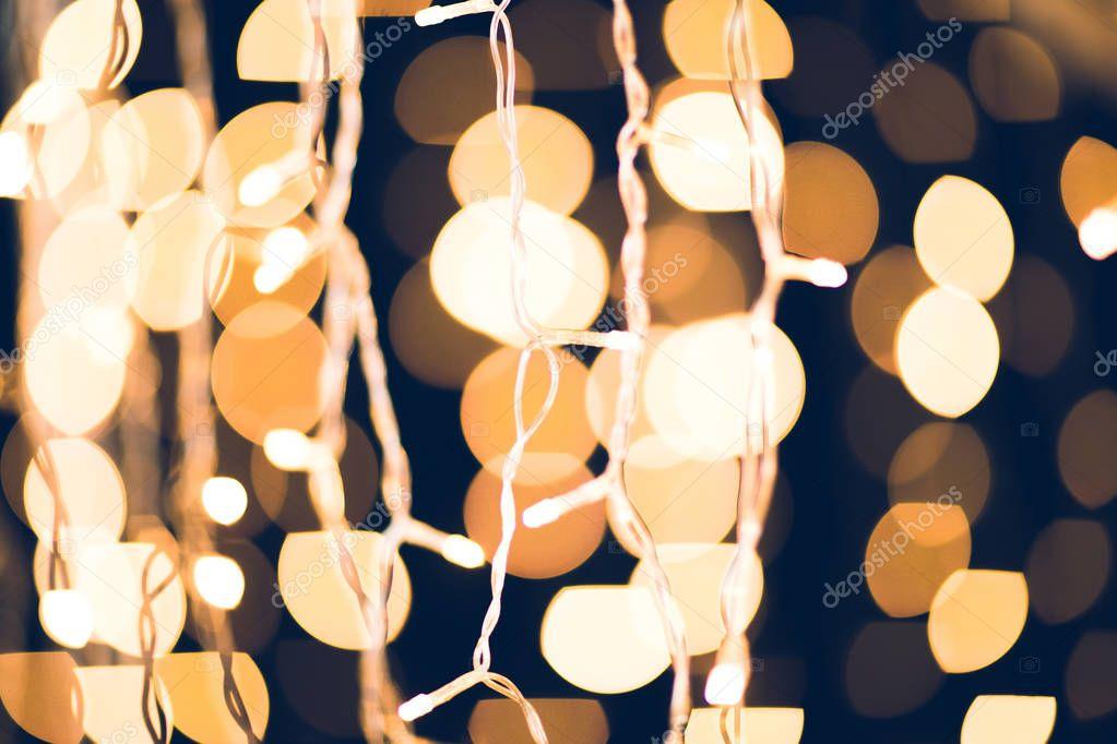 close-up shot of beautiful golden christmas lights