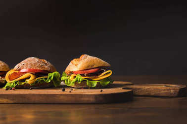 sandwiches with cheese and vegetables on cutting board with scattered spice