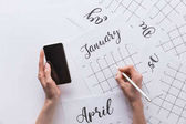 Fényképek részleges kilátás smartphone a kezében hogy jegyzetek, naptár, elszigetelt fehér nő