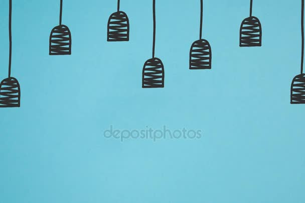stop motion footage of arranged light bulbs isolated on blue