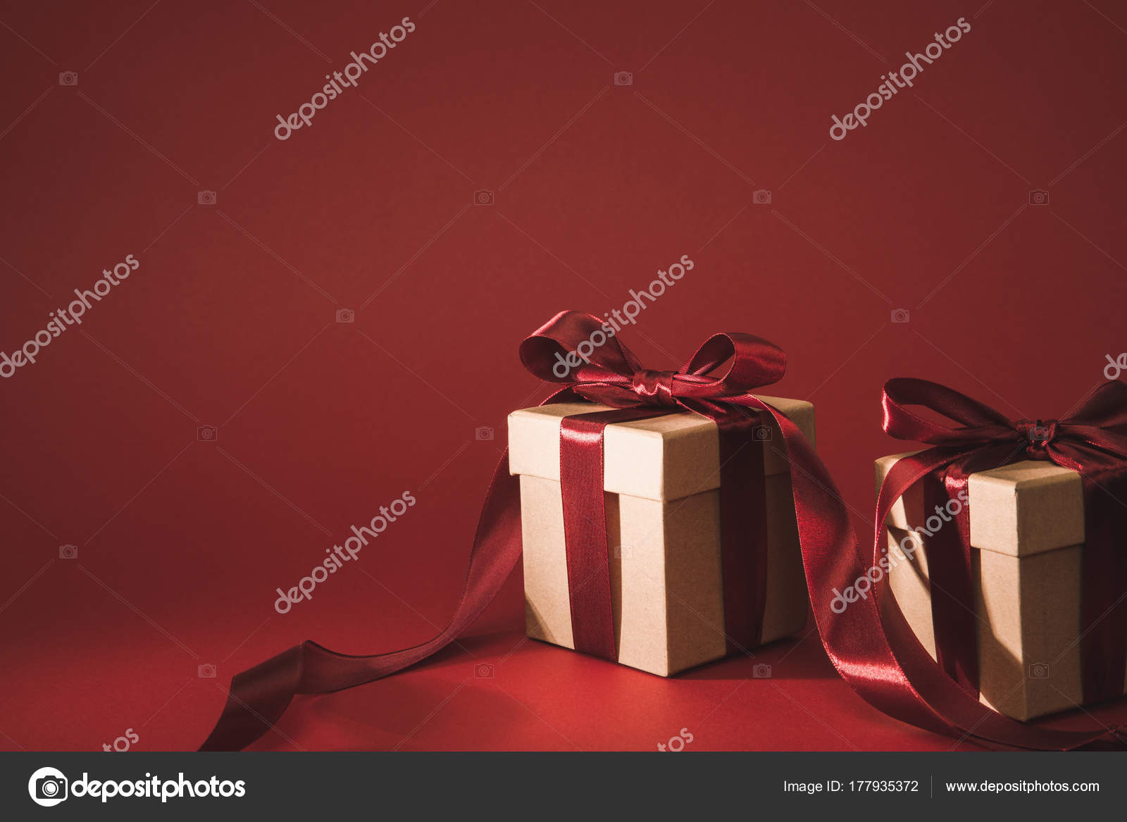 Close View Three Gift Boxes Decorated Ribbons Red — Stock Photo ...