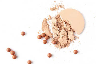 flat lay composition of nude cosmetic powder isolated on white