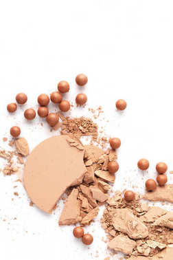 Crushed nude cosmetic powder isolated on white stock vector