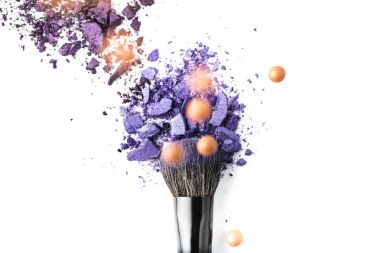 Top view of cosmetic brush with purple powder on isolated on white stock vector