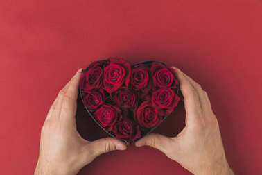 cropped shot of man holding roses in heart shaped box on red tabletop, st valentines day concept
