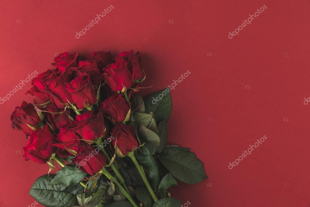 top view of bouquet of red roses with green leaves isolated on red