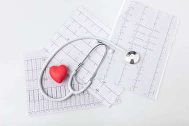 stethoscope, cardiogram and red heart isolated on white background