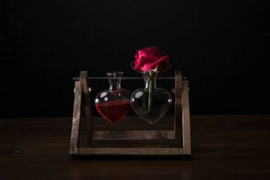 red rose in heart shaped vase and vase with love elixir