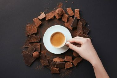 cropped shot of female hand, cup of coffee, truffles and chocolate on grey surface