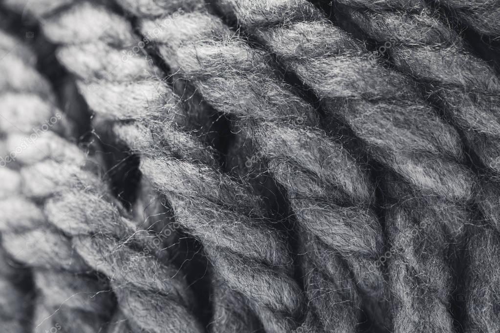 close up view of grey yarn ball