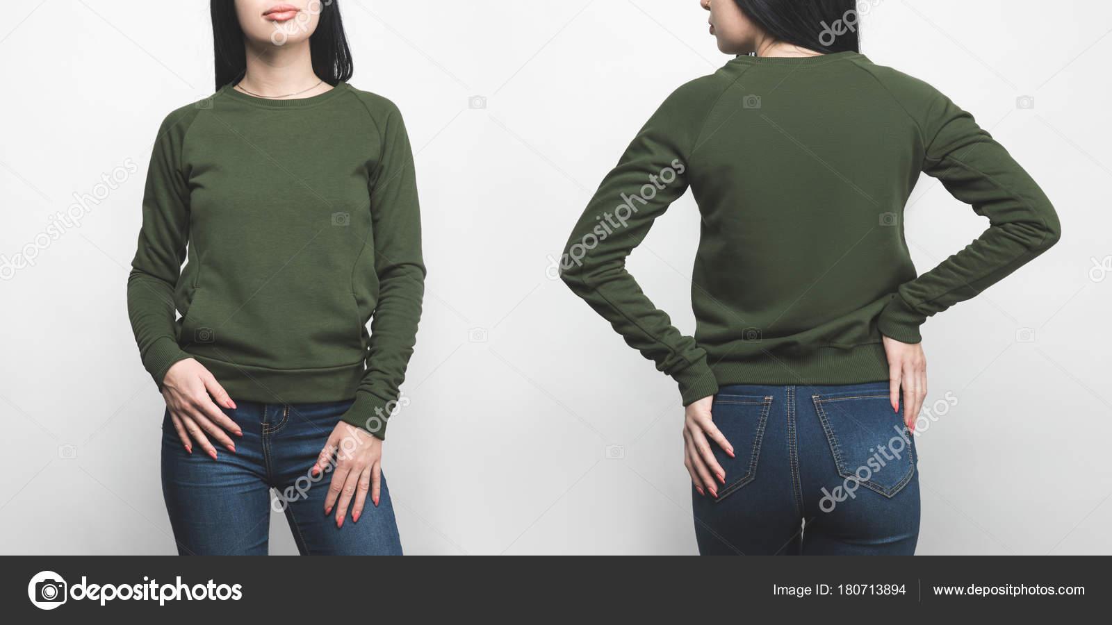 47d56d0a56ed Vue Devant Dos Jeune Femme Blanc Sweat Shirt Vert Isolé — Photo