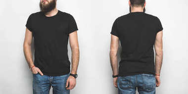 front and back view of man in black t-shirt isolated on white