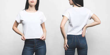 front and back view of young woman in blank t-shirt isolated on white