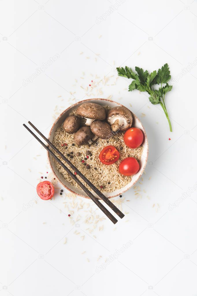 flat lay composition of chinese cuisine ingredients