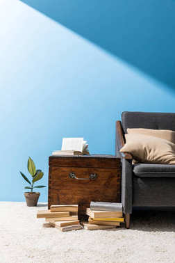 old wooden chest with books near couch in front of blue wall