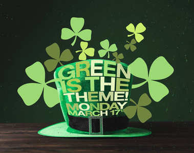 close up view of green hat on wooden surface and green is the theme, monday, march 17 lettering