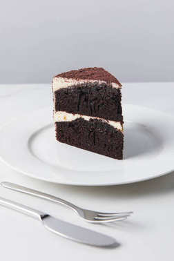 Closeup view of chocolate cake on white plate placed on white surface