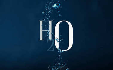H2o chemistry symbol and bubbles in water background stock vector