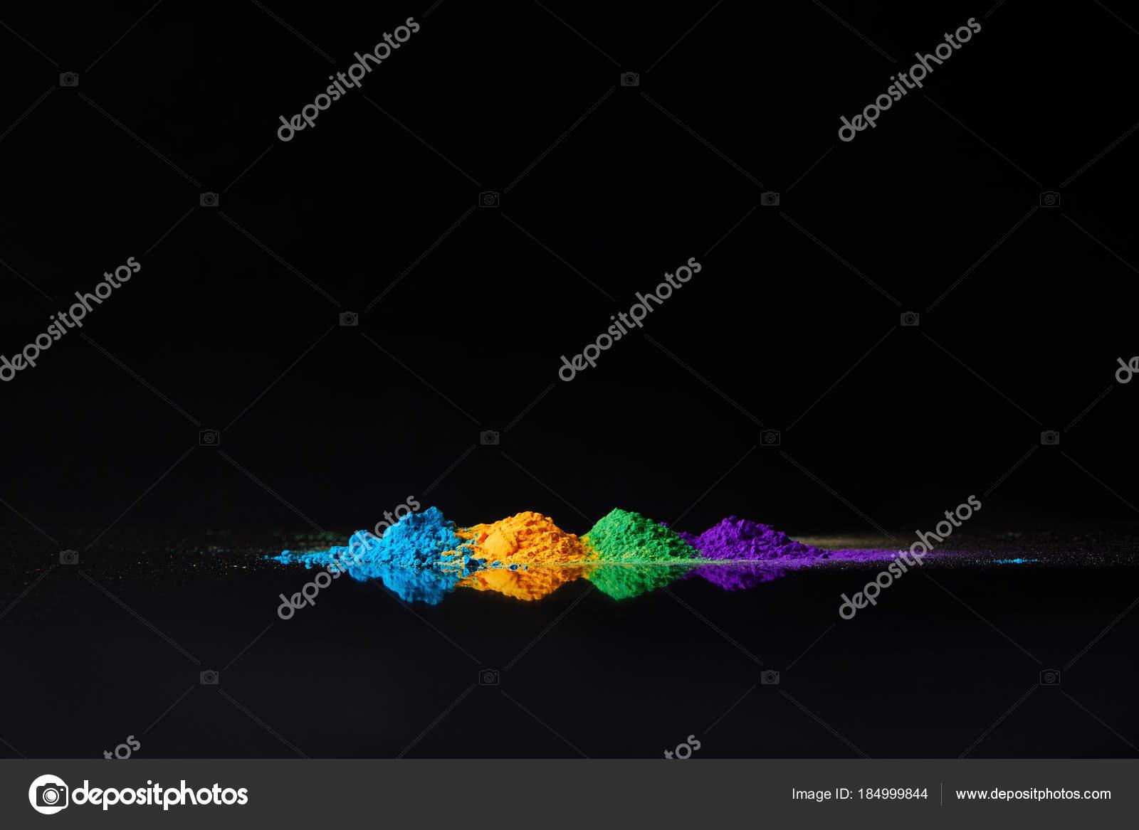 Cuatro Colores Holi Polvo Para Hindu Spring Festival Negro Con ...