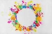 kruh rám vícebarevný tradiční prášku, izolované na bílém, festival barev