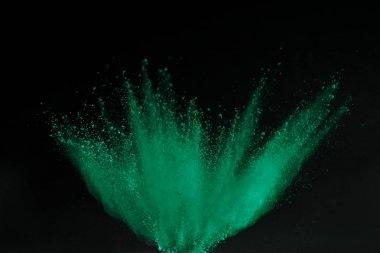 green holi powder explosion isolated on black, Hindu spring festival