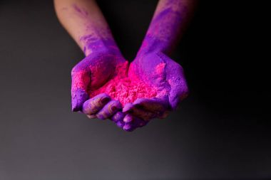 cropped view of hands with purple and pink holi paint, isolated on grey