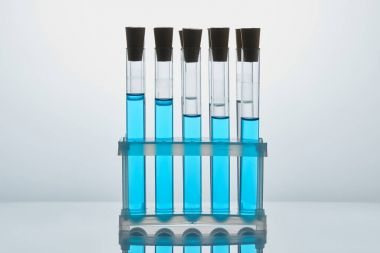 row of chemistry tubes filled with blue liquid on stand
