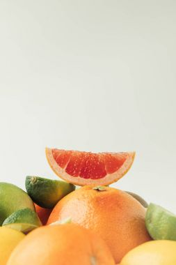 Grapefruit slice on top of citrus fruits isolated on white background stock vector