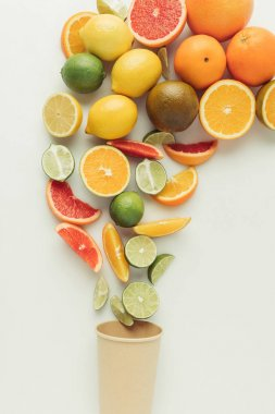 Juicy citruses and paper cup isolated on white background stock vector