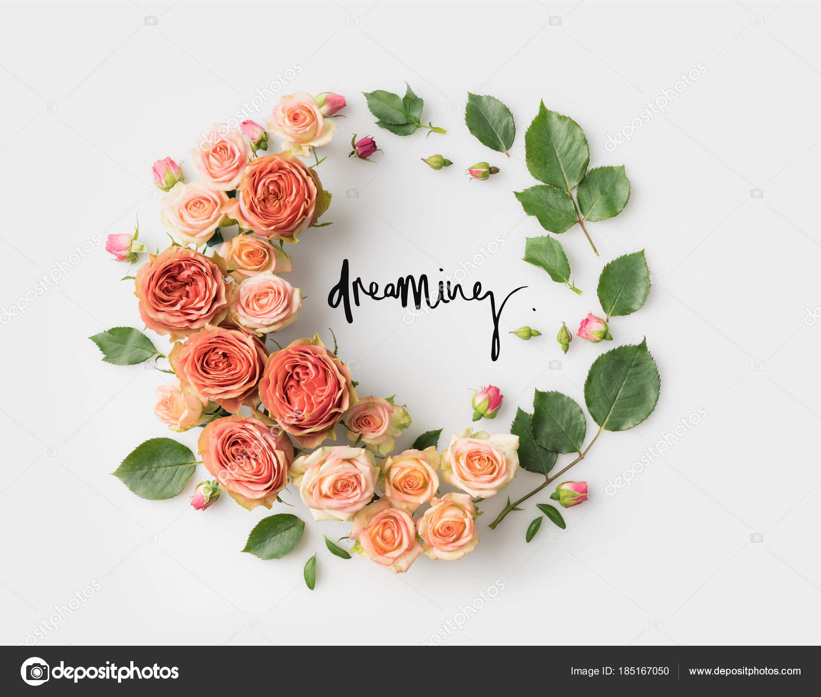 Dreaming Sign Pink Flower Wreath Leaves Buds Petals Isolated White