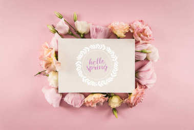 Top view of HELLO SPRING card and beautiful blooming flowers isolated on pink