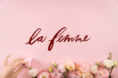 Top view of hand arranging beautiful tender flowers with LE FEMME sign isolated on pink background