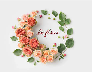 LE FEMME sign surrounded with pink flower wreath with leaves, buds and petals isolated on white