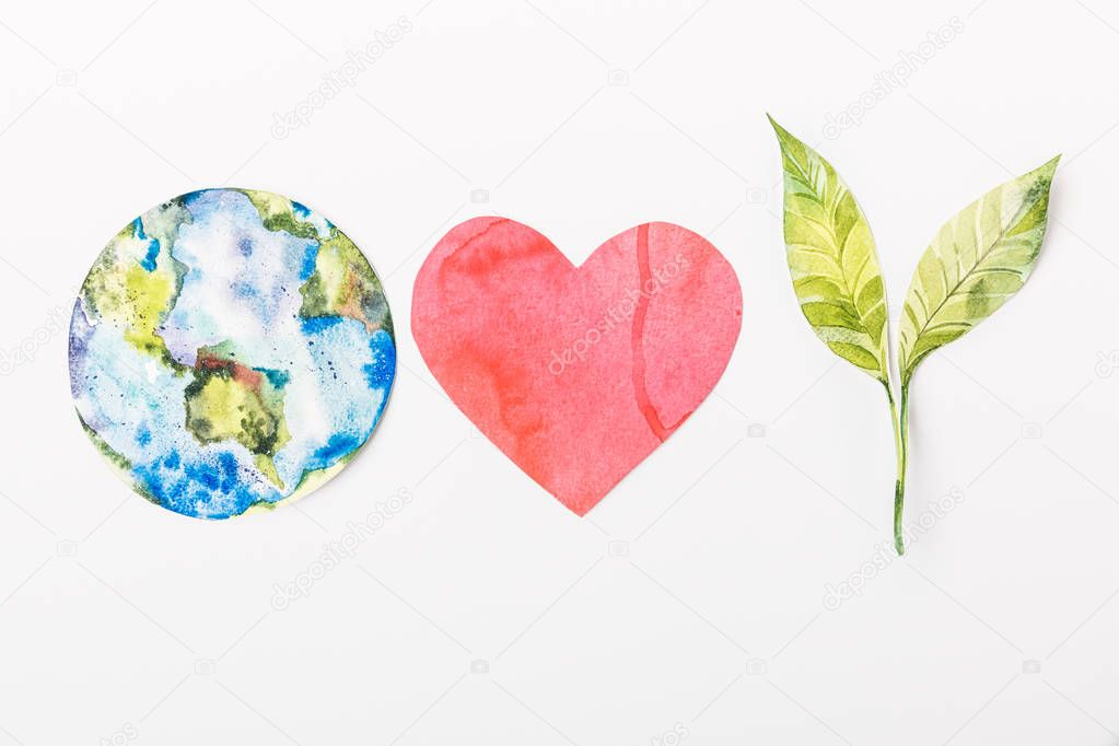 top view of paper made colorful globe, red heart and green plant isolated on grey, recycling and  environment protection concept