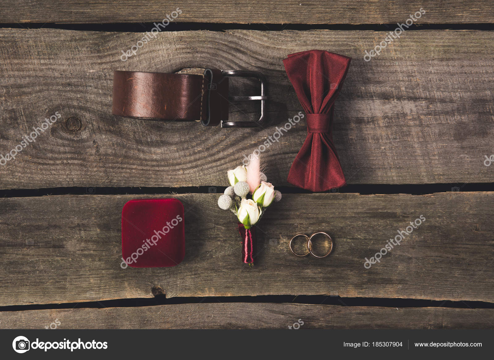 Flat lay arranged grooms accessories wedding rings wooden tabletop flat lay arranged grooms accessories wedding rings wooden tabletop stock photo junglespirit Images