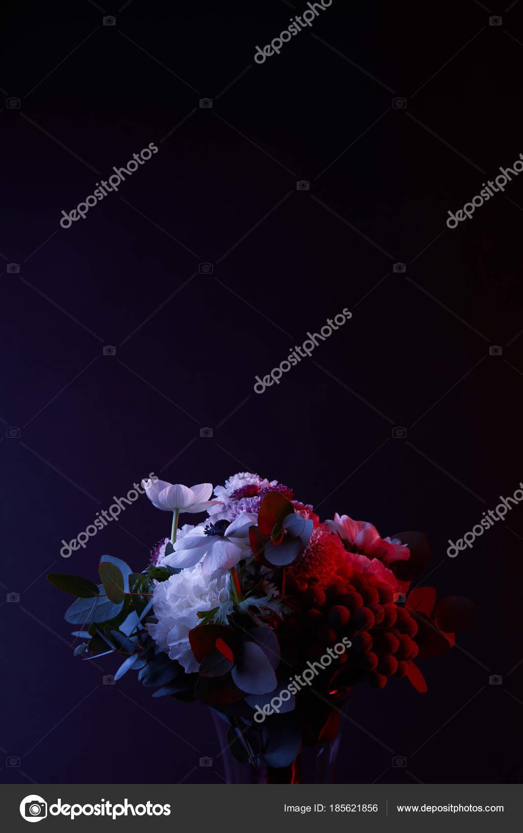 Bouquet Different White Flowers Red Light Dark Stock Photo