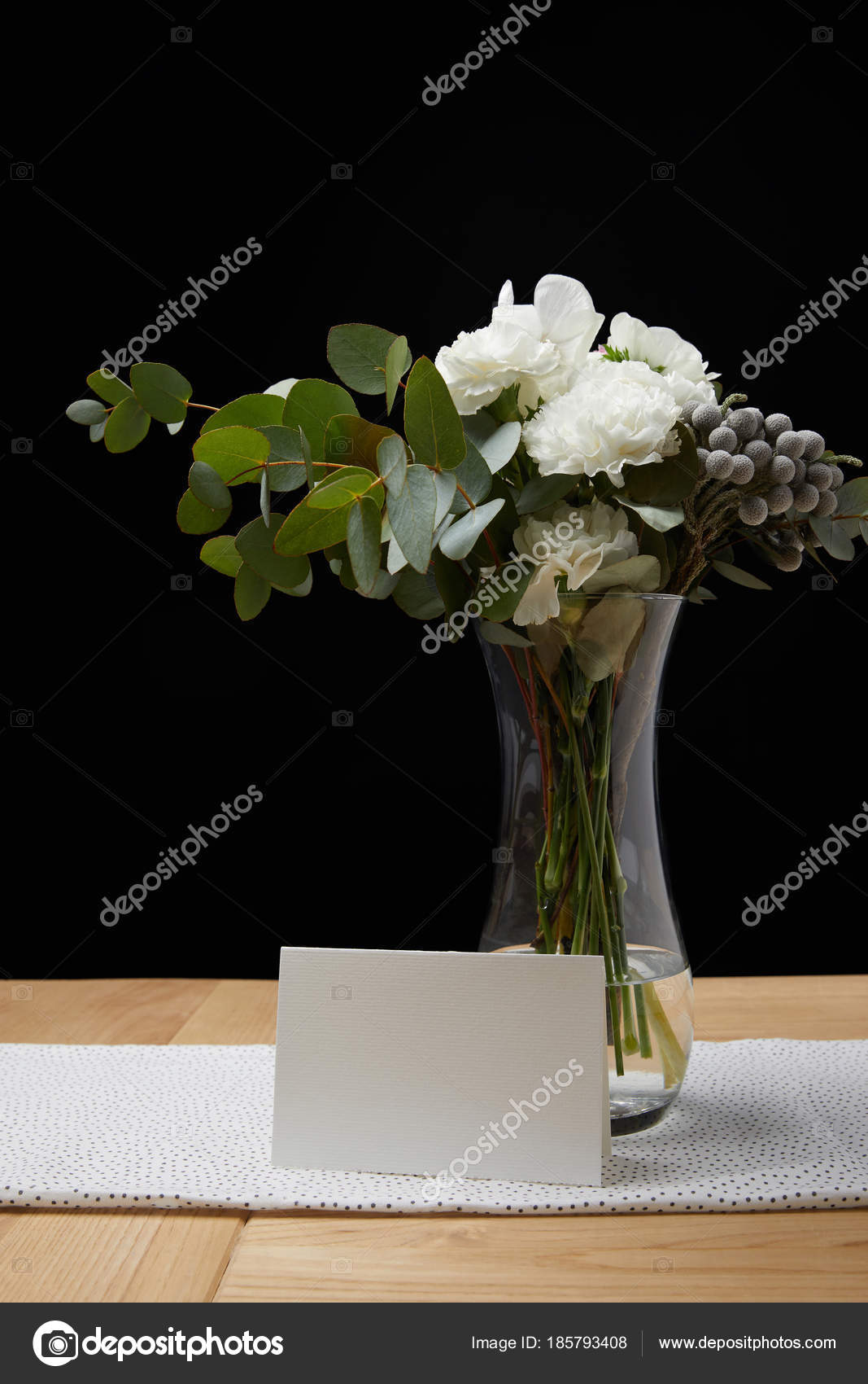 Floral Bouquet White Card Table U2014 Stock Photo
